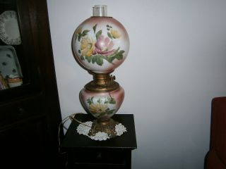 Gone With The Wind Parlor Lamp Marked Victorian Globes Oil Insert photo