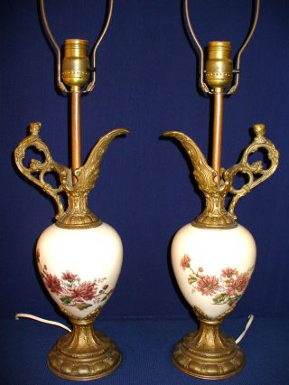 Pair Of Ornate Antique Brass & Porcelain Urn Shape Lamps photo