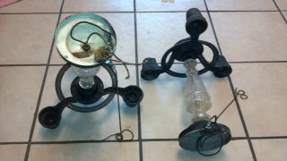 Chandeliers 2 Late 1900s Castiron Glass Centers With 3 Drop Lights photo