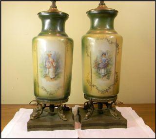 Vintage Lamp Pair Ladies Transferware Handpainted Filigree Base 17 1/2