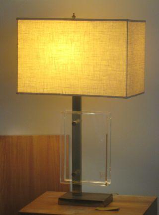 Mid - Century Modern Pierre Cardin (laurel) Asymmetric Lamp Lucite Brass Linen photo