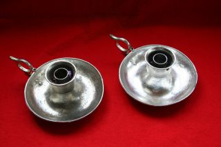 Pair Of Antique Chamber Candlestick Saucer Ring Handle photo