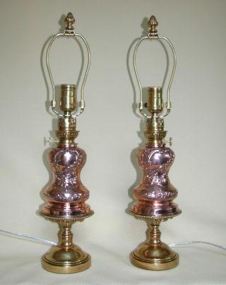 Pair Antique Art Nouveau Period Copper Oil Lamps,  Circa 1890 photo