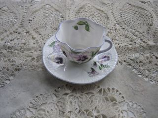 Gorgeous Shelley Shaded Purple Pansy ' S With Green Leaves Cup & Saucer - X Conditio photo