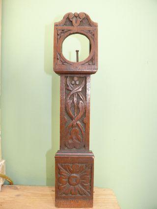 19thc Oak Carved Miniature Grandfather Clock Case photo