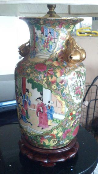 Gorgeous Japanese Vase Lamp - Enameled Porcelain.  Early 20th Century W/ Gold Leaf photo