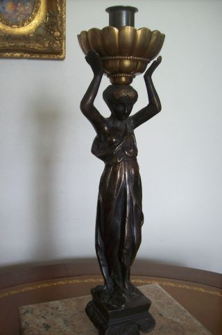 Greek Revival Candleholder - Bronze Figure - Late 19th Century photo
