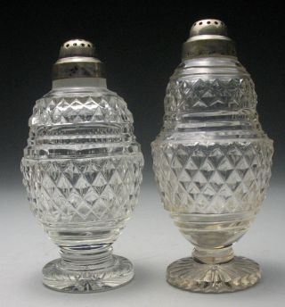 Amazing Antique Pair Of 19c.  Georgian Anglo - Irish Diamond Point Salt Shakers photo
