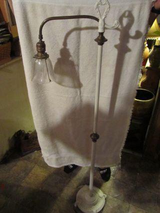 Antique Painted White Brass & Cast Iron Finial Bridge Floor Lamp E - 1277 photo