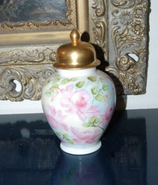 Porcelain Tea Urn With Hand Painted Roses 1950 photo