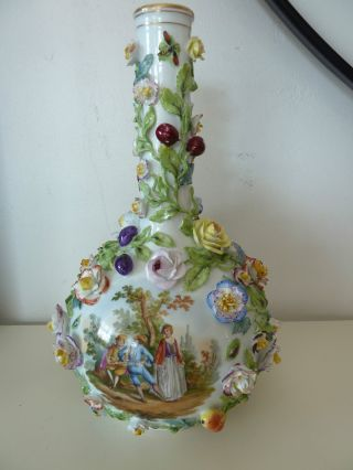 Rare Meissen Crossed Swords Germany Vase Applied Flowers,  Insects & Fruits photo