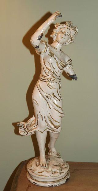 Shabby Antique Metal Lady Statue Lamp Part photo