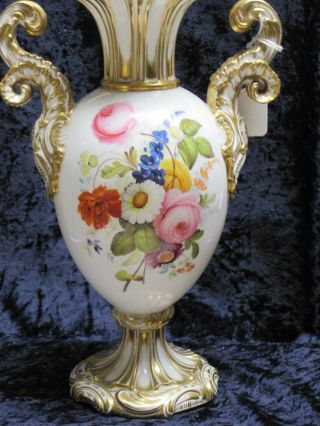 Bolted German Quality Floral Vase Hand Painted Late 19th Century. photo