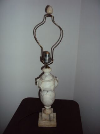 Large Decorative Alabaster Marble Electrified Table Lamp & Finial photo