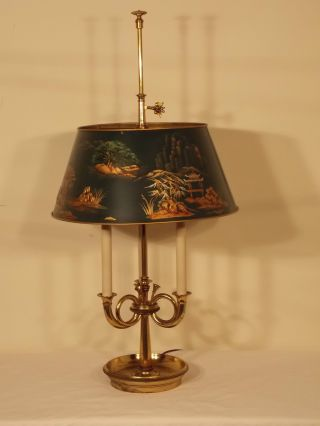 Huge Vintage Antique French Horn Brass Bouillotte Chinoiserie Decorated Lamp photo