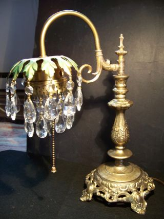 Antique Victorian Palm Tree Lamp 2 Of A Pair,  1920 ' S Crystal Lustres photo