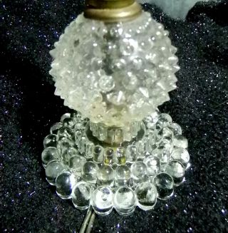 Vintage Early 1900 ' S ? To Mid Century Clear Hobnail Table Lamp All Orig.  Works photo