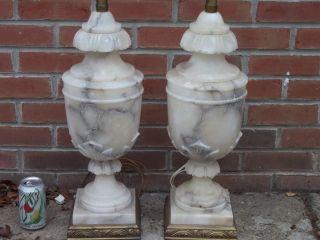 Antique Mid Century Modern Marble Lamps Huge Urn Vases 42