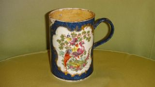 Scarce Restored Antique 18th Worcester Porcelain Large Caughley Mug / Tankard photo