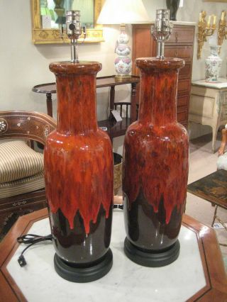 Pair Of Mid - Century Pottery Table Lamps photo