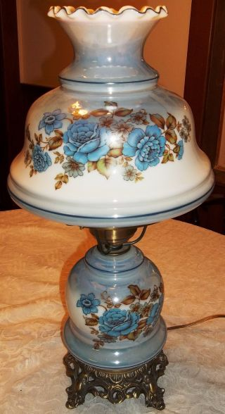 Vintage Victorian Romantic Gone With The Wind Gwtw 3 Way Lamp,  Blue/brown Luster photo