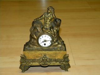 Antique 1886 French Bronze Figural Clock Fusee Movement Porcelain Dial Signed photo