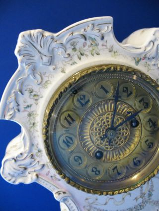 Victorian Waterbury Parlor Clock Porcelain Ornate Face Beveled Glass photo