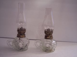2 Vintage Pressed Glass Bulls Eye Thumb Hold Miniature Glass Oil Lamp & Chimney photo