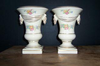 Pair Porcelain Urns Vases Planters Ivory,  Gilt Trim,  Floral Decoration 1930 ' S - 40 photo
