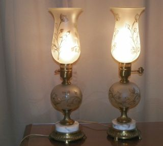 Vintage Boudoir Table Lamps Satin Frosted Glass Etched Hurricane Shades 303 photo