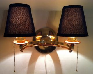 Vintage Wall Lamp Double Arm Sconce In Brass And Copper Art Deco Bauhaus Modern photo