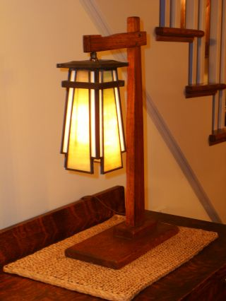 Prairie Stickley Style Cantilever Arts Crafts Stained Art Glass Lantern Lamp photo