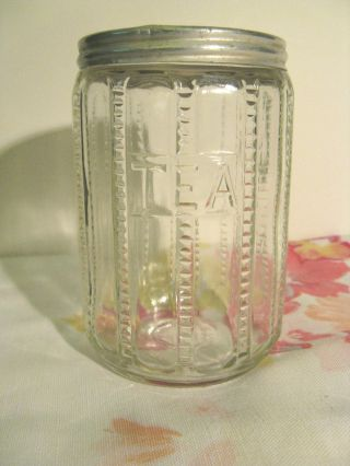 Tea Canister - Antique - Hoosier Style - Metal Lid - - Exc. photo