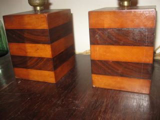 Pair Of 1960 ' S Decorative Two Wood Retro Mantle/ Bedside Lamps photo