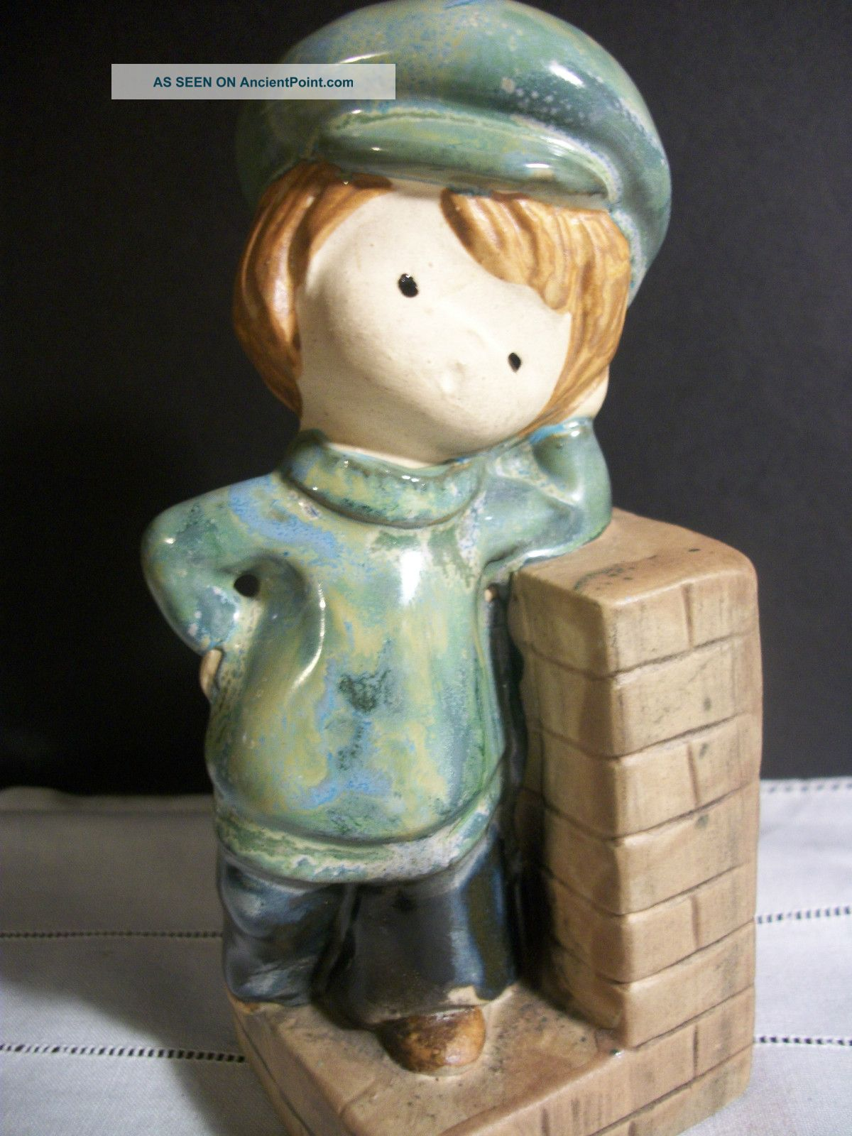 Vintage Uctci Uccti Japan Hand Painted Glaze Ceramic Pottery Boy On Brick Wall Figurines photo