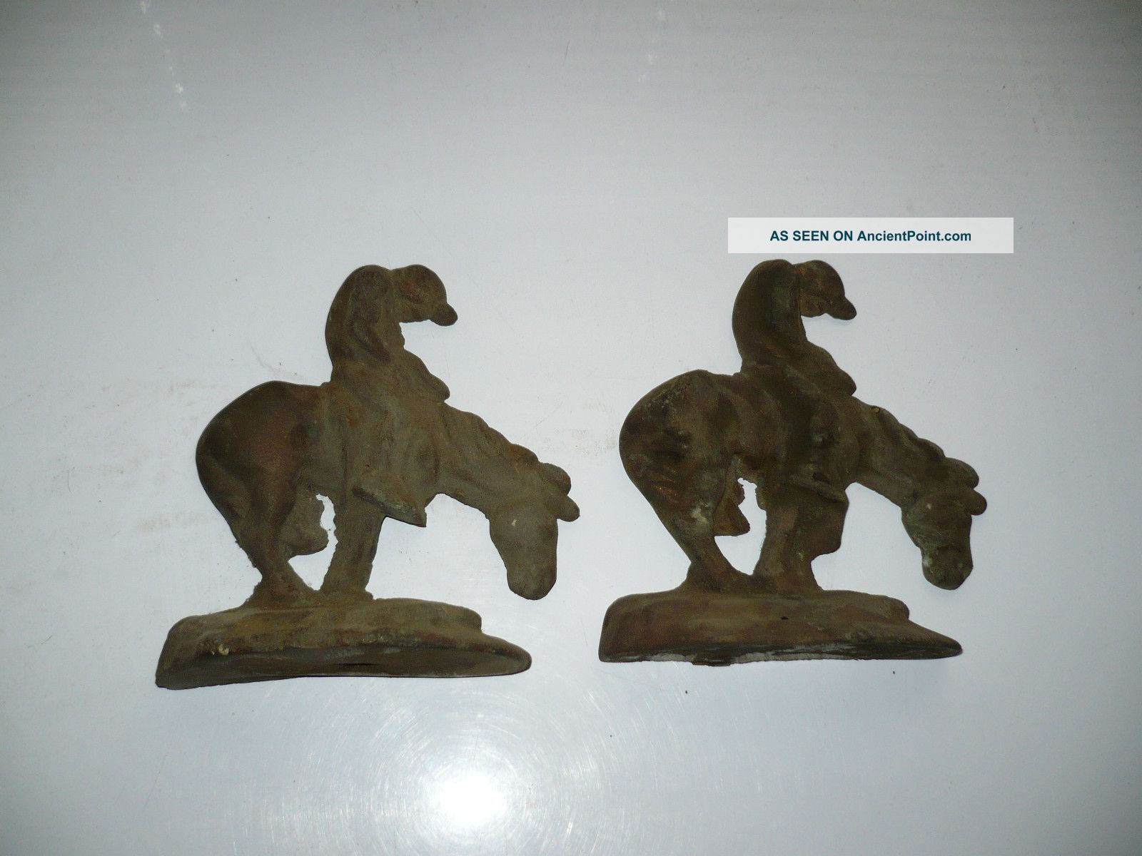 Vintage Pair Cast Brass Bookends With Indian Warrier On A Horse Metalware photo