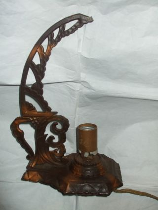 Antique Early 1900s Vintage Cast Iron Electric Unique Table Light Lamp - Works photo