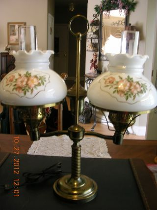 Vintage Double Arm Student Desk Lamp With Glass Shades photo