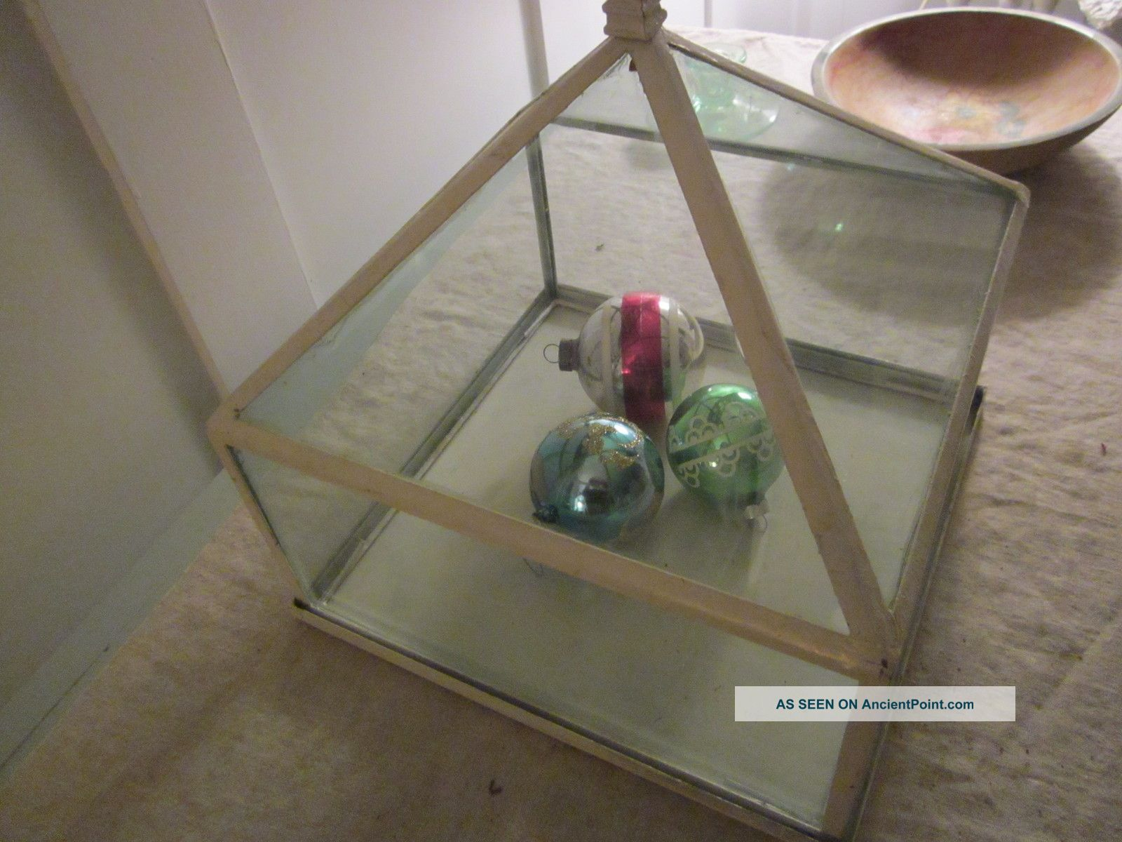 Great Look Vintage Glass Terrarium With Metal Nice Design W Finial