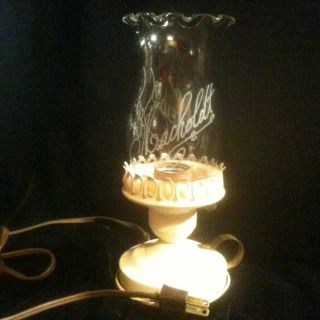 Rare Antique Table Floor Lamp Light W/ Etched Chimney