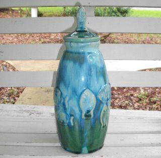 Unique Ceramic Aqua & Green Iridescent Flower Vase Canister W/ Lid Ocean Art Nwt photo
