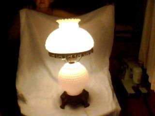 Vintage White Hobnail Milk Ruffled Double Globe Shade Table Lamp photo