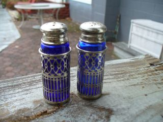 Old Cobalt Blue Salt And Pepper Shakers photo