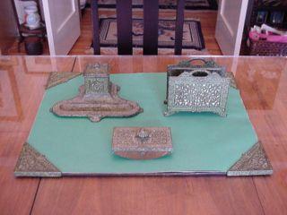 Vintage Arts & Crafts Slag Glass & Metal Desk Set photo