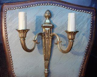 Gorgeous Vintage Antik Brass Bronze Wall Lights Lamps Sconces French Louis Xvi photo