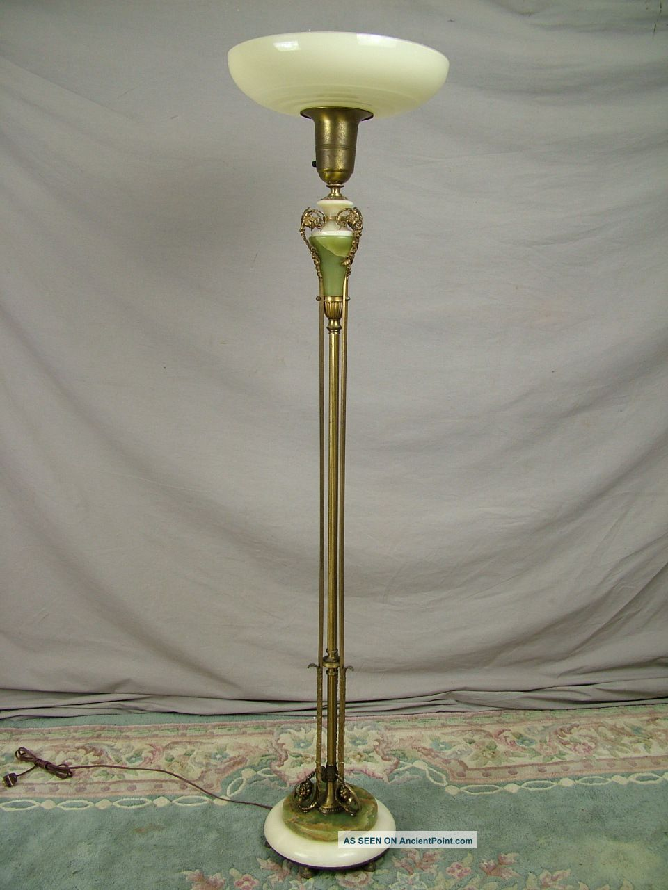 Antique French Torchiere Floor Lamp Marble Onyx Brass Bronze Cast
