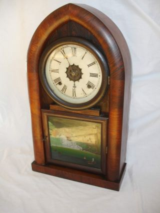 Antique Rosewood Waterbury Shelf Clock With Reversed On Glass Painting photo