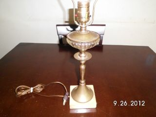 Antique Lamp,  Bronce,  Glass And Marble Base. photo