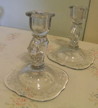 Pair Paden Glass Vintage Candlesticks,  Cut Glass Floral Pattern,  Unusual Shape photo