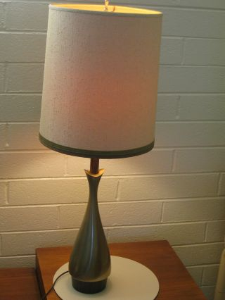 Mid Century Modern American Brass & Linen Laurel Lamp Olive Patina Finial Shade photo